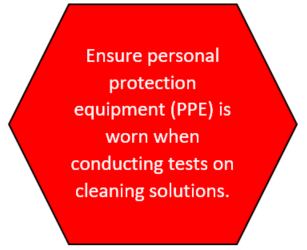ENSURE YOU WEAR PPE BEFORE CLEANING AND CONDUCTING TEST